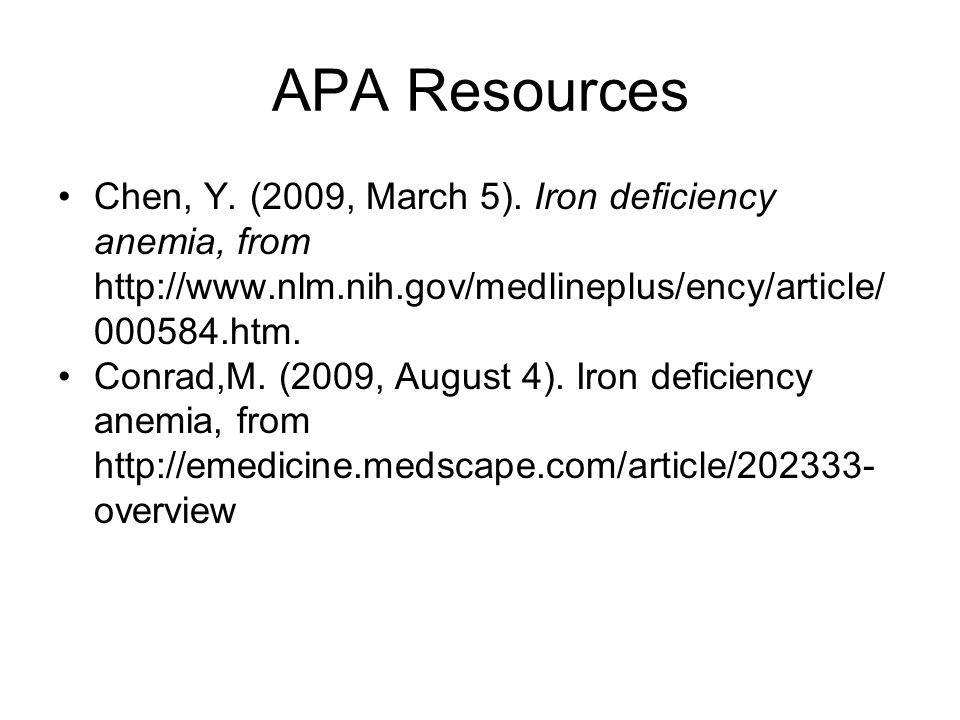 APA Resources Chen, Y.(2009, March 5).
