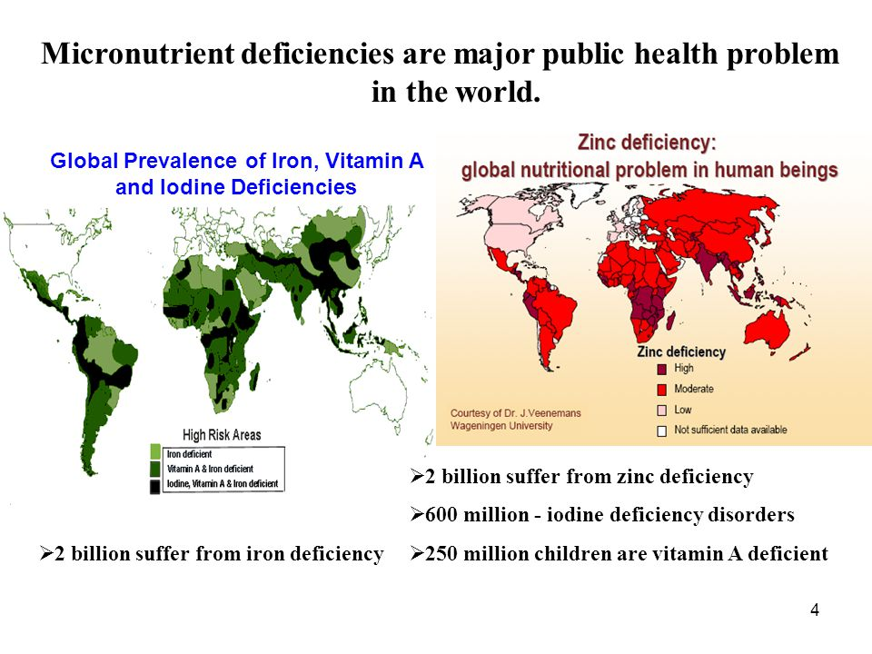 4 Micronutrient deficiencies are major public health problem in the world.