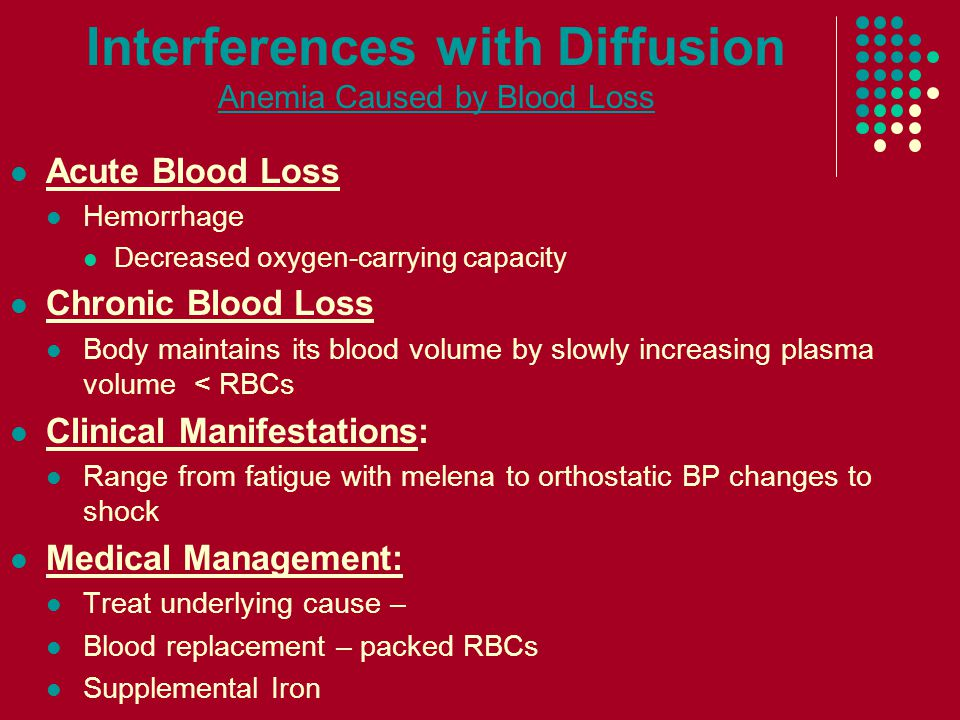 Interferences with Diffusion Anemia Caused by Blood Loss Acute Blood Loss Hemorrhage Decreased oxygen-carrying capacity Chronic Blood Loss Body maintains its blood volume by slowly increasing plasma volume < RBCs Clinical Manifestations: Range from fatigue with melena to orthostatic BP changes to shock Medical Management: Treat underlying cause – Blood replacement – packed RBCs Supplemental Iron