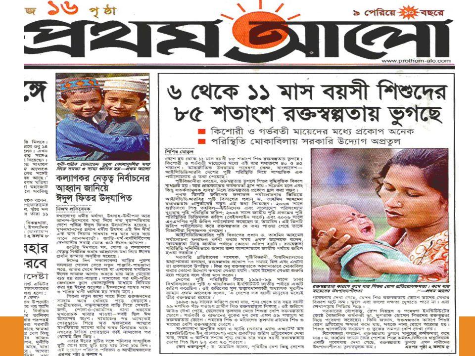 AgeYearSettingsSample Size% Infants (6-11 mo) 2004 1 2003 2 2001 3 1999 4 Rural Urban CHT Rural Urban 1227 U-5 93 51 1148 U-5 183 92 83.9 90 74.1 92.3 NSP 2004 1, Anemia prevalence survey UNICEF/BBS 2003 2, NSP 2002 3, NSP 2000 4 Prevalence of Anemia in Bangladesh