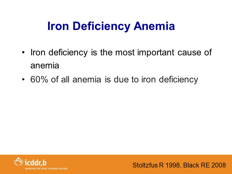 Iron Deficiency Anemia Iron deficiency is the most important cause of anemia 60% of all anemia is due to iron deficiency Stoltzfus R 1998, Black RE 2008