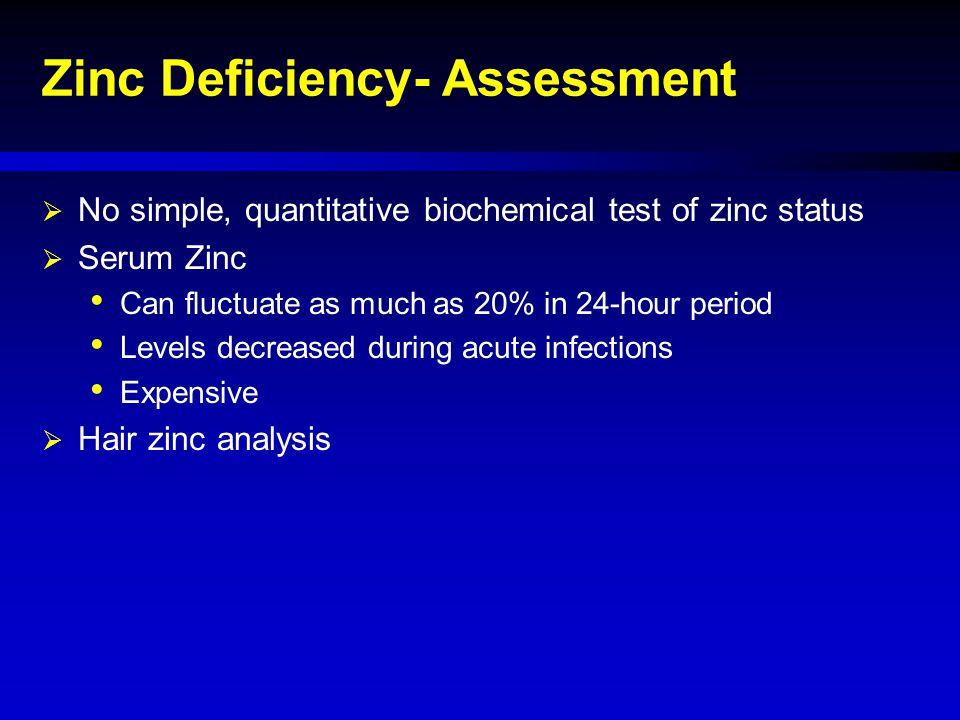 Zinc Deficiency- Assessment  No simple, quantitative biochemical test of zinc status  Serum Zinc Can fluctuate as much as 20% in 24-hour period Leve