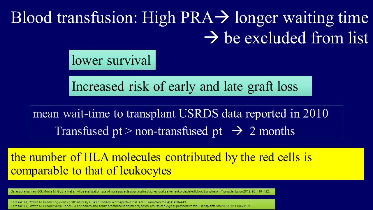 the number of HLA molecules contributed by the red cells is comparable to that of leukocytes Blood transfusion: High PRA  longer waiting time  be excluded from list lower survival Increased risk of early and late graft loss Terasaki PI, Ozawa M.