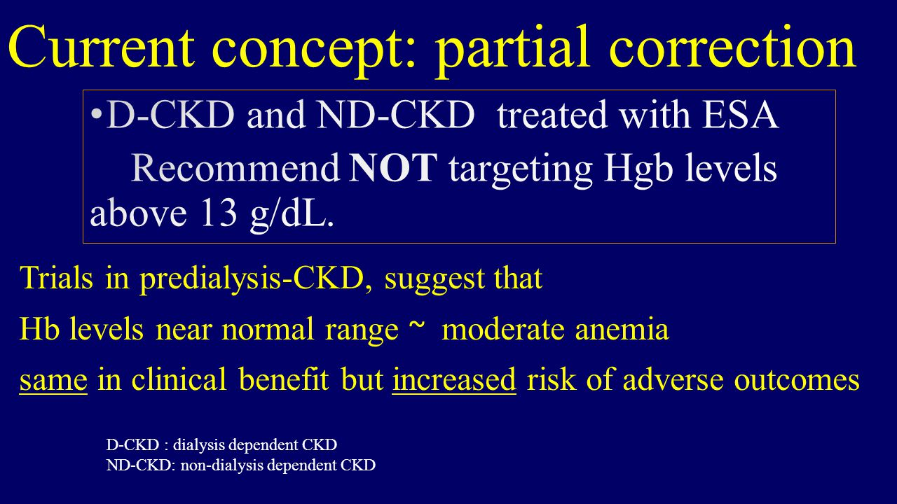 Current concept: partial correction Trials in predialysis-CKD, suggest that Hb levels near normal range ~ moderate anemia same in clinical benefit but increased risk of adverse outcomes D-CKD : dialysis dependent CKD ND-CKD: non-dialysis dependent CKD