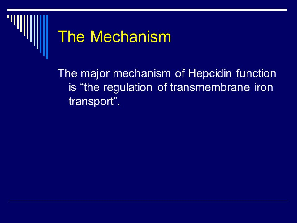 The Mechanism The major mechanism of Hepcidin function is the regulation of transmembrane iron transport .