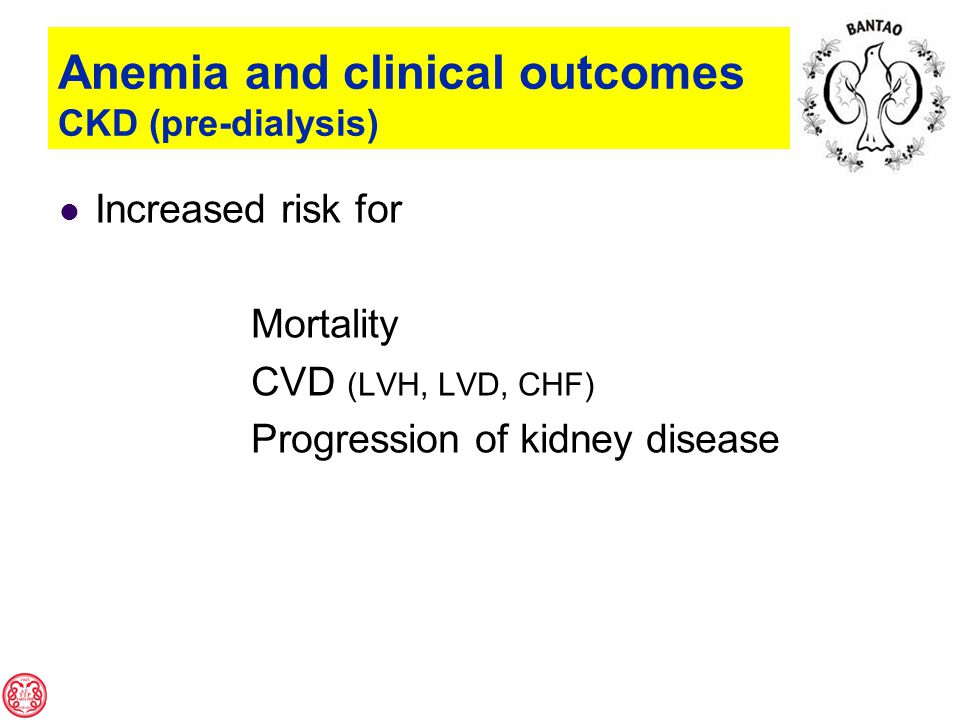 Anemia and clinical outcomes CKD (pre-dialysis) Increased risk for Mortality CVD (LVH, LVD, CHF) Progression of kidney disease