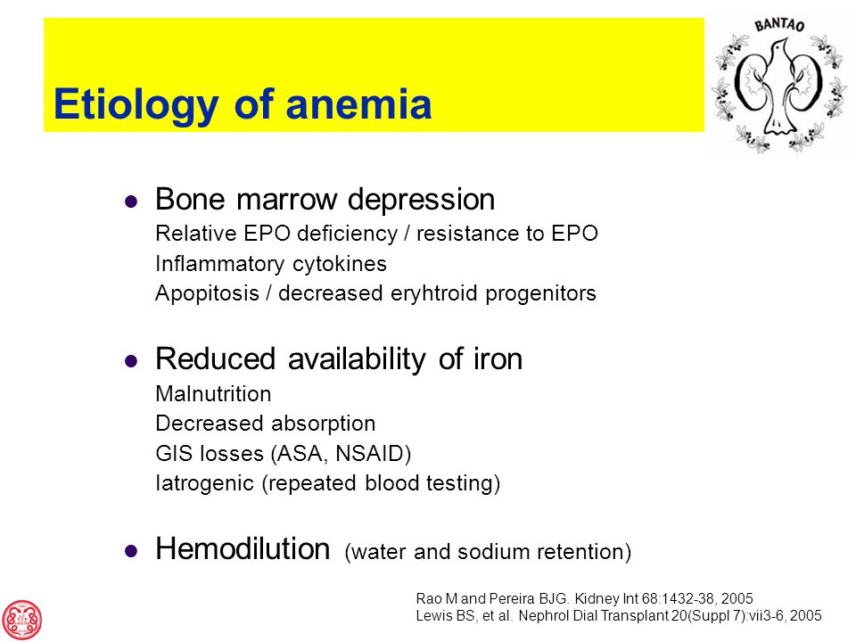 Etiology of anemia Bone marrow depression Relative EPO deficiency / resistance to EPO Inflammatory cytokines Apopitosis / decreased eryhtroid progenitors Reduced availability of iron Malnutrition Decreased absorption GIS losses (ASA, NSAID) Iatrogenic (repeated blood testing) Hemodilution (water and sodium retention) Rao M and Pereira BJG.