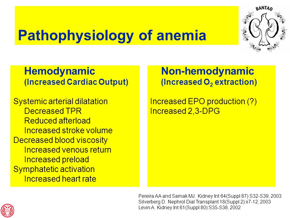 Hemodynamic (Increased Cardiac Output) Systemic arterial dilatation Decreased TPR Reduced afterload Increased stroke volume Decreased blood viscosity Increased venous return Increased preload Symphatetic activation Increased heart rate Non-hemodynamic (Increased O 2 extraction) Increased EPO production ( ) Increased 2,3-DPG Pereira AA and Sarnak MJ.
