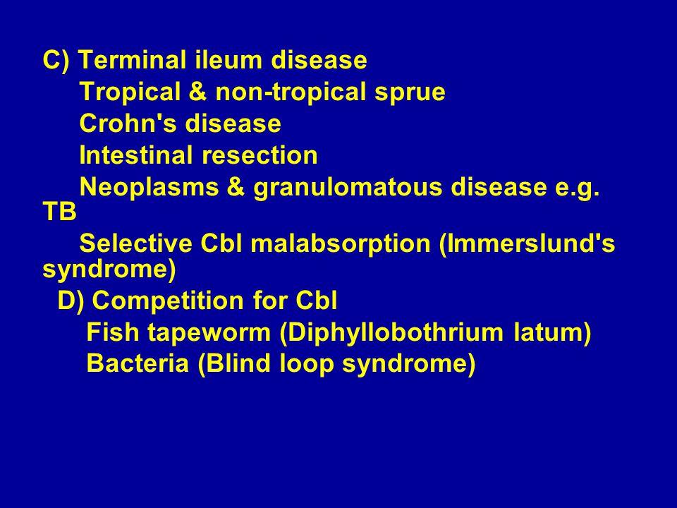 C) Terminal ileum disease Tropical & non-tropical sprue Crohn s disease Intestinal resection Neoplasms & granulomatous disease e.g.