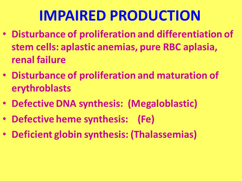 IMPAIRED PRODUCTION Disturbance of proliferation and differentiation of stem cells: aplastic anemias, pure RBC aplasia, renal failure Disturbance of proliferation and maturation of erythroblasts Defective DNA synthesis: (Megaloblastic) Defective heme synthesis: (Fe) Deficient globin synthesis: (Thalassemias)