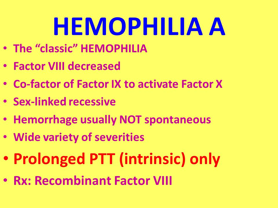 HEMOPHILIA A The classic HEMOPHILIA Factor VIII decreased Co-factor of Factor IX to activate Factor X Sex-linked recessive Hemorrhage usually NOT spontaneous Wide variety of severities Prolonged PTT (intrinsic) only Rx: Recombinant Factor VIII