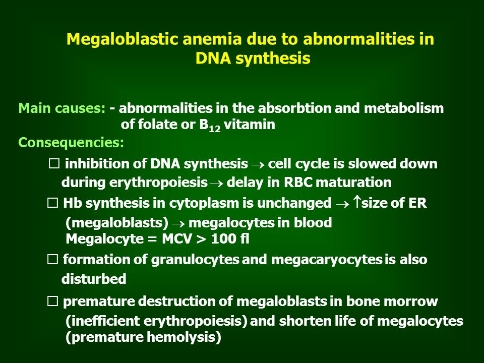 Megaloblastic anemia due to abnormalities in DNA synthesis Main causes: - abnormalities in the absorbtion and metabolism of folate or B 12 vitamin Consequencies: inhibition of DNA synthesis  cell cycle is slowed down during erythropoiesis  delay in RBC maturation Hb synthesis in cytoplasm is unchanged   size of ER (megaloblasts)  megalocytes in blood Megalocyte = MCV > 100 fl formation of granulocytes and megacaryocytes is also disturbed premature destruction of megaloblasts in bone morrow (inefficient erythropoiesis) and shorten life of megalocytes (premature hemolysis)