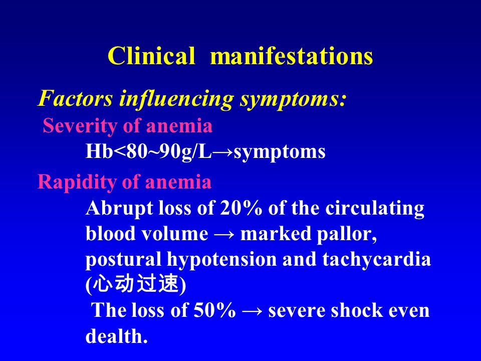 Clinical manifestations Factors influencing symptoms: Severity of anemia Hb<80~90g/L→symptoms Rapidity of anemia Abrupt loss of 20% of the circulating blood volume → marked pallor, postural hypotension and tachycardia ( 心动过速 ) The loss of 50% → severe shock even dealth.