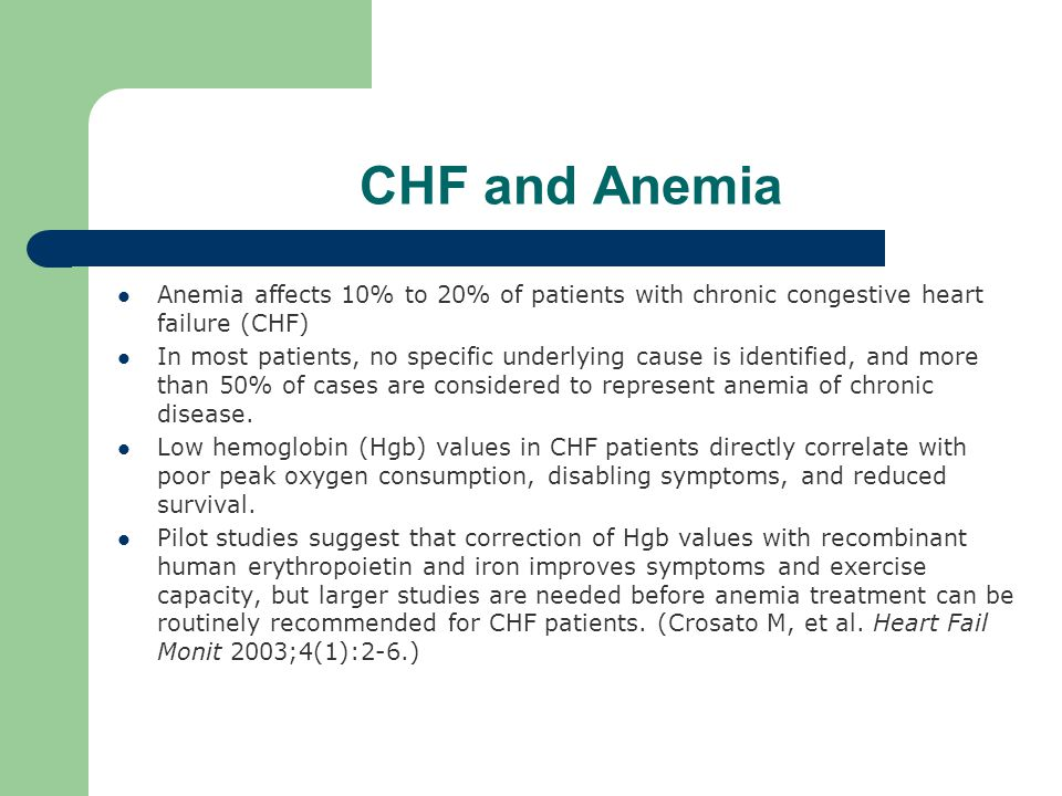 CHF and Anemia Anemia affects 10% to 20% of patients with chronic congestive heart failure (CHF) In most patients, no specific underlying cause is identified, and more than 50% of cases are considered to represent anemia of chronic disease.