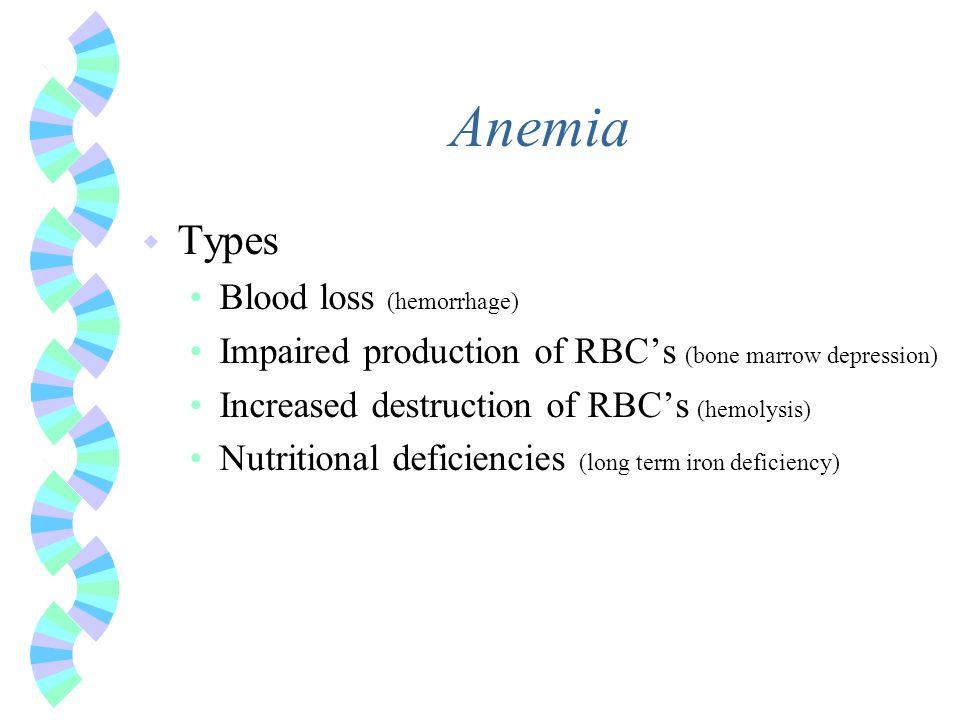 Anemia w Types Blood loss (hemorrhage) Impaired production of RBC's (bone marrow depression) Increased destruction of RBC's (hemolysis) Nutritional de