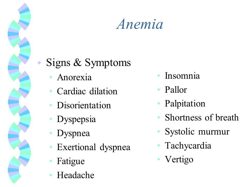 Anemia w Signs & Symptoms Anorexia Cardiac dilation Disorientation Dyspepsia Dyspnea Exertional dyspnea Fatigue Headache Insomnia Pallor Palpitation S