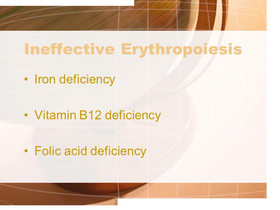 Ineffective Erythropoiesis Iron deficiency Vitamin B12 deficiency Folic acid deficiency