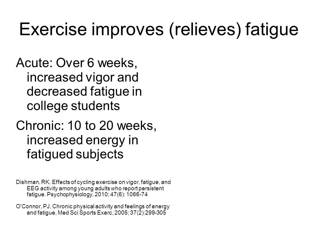 Exercise improves (relieves) fatigue Acute: Over 6 weeks, increased vigor and decreased fatigue in college students Chronic: 10 to 20 weeks, increased energy in fatigued subjects Dishman, RK, Effects of cycling exercise on vigor, fatigue, and EEG activity among young adults who report persistent fatigue.