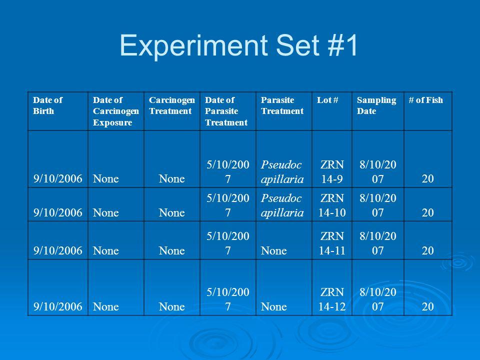 Experiment Set #1 Date of Birth Date of Carcinogen Exposure Carcinogen Treatment Date of Parasite Treatment Parasite Treatment Lot #Sampling Date # of Fish 9/10/2006None 5/10/200 7 Pseudoc apillaria ZRN 14-9 8/10/20 0720 9/10/2006None 5/10/200 7 Pseudoc apillaria ZRN 14-10 8/10/20 0720 9/10/2006None 5/10/200 7None ZRN 14-11 8/10/20 0720 9/10/2006None 5/10/200 7None ZRN 14-12 8/10/20 0720