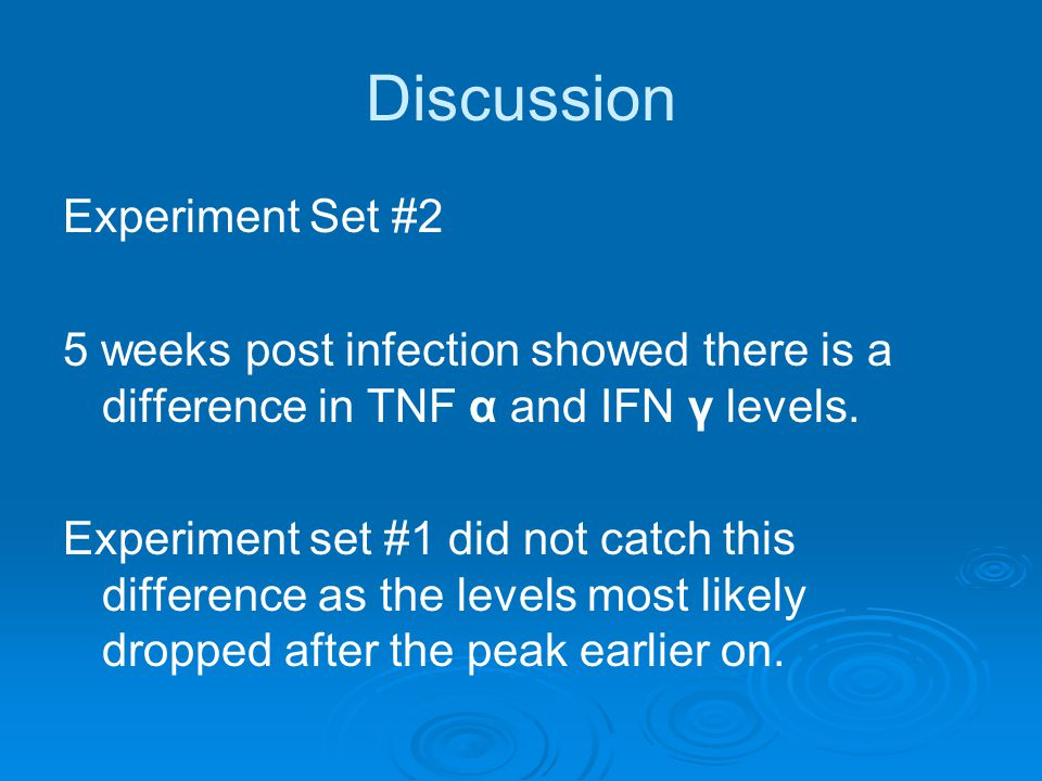 Discussion Experiment Set #2 5 weeks post infection showed there is a difference in TNF α and IFN γ levels.