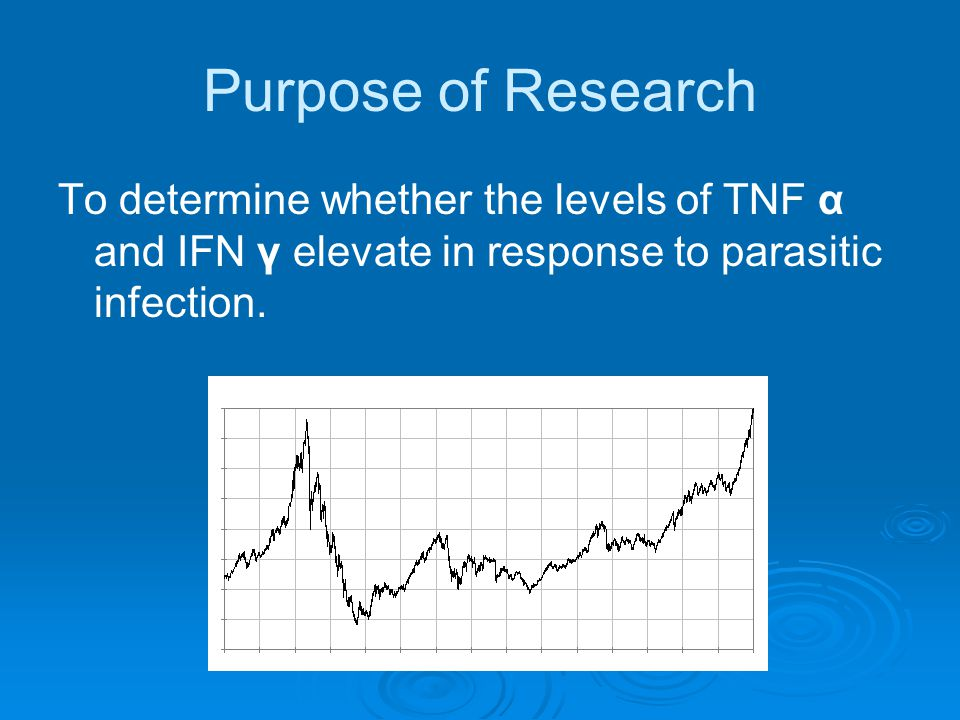 Purpose of Research To determine whether the levels of TNF α and IFN γ elevate in response to parasitic infection.