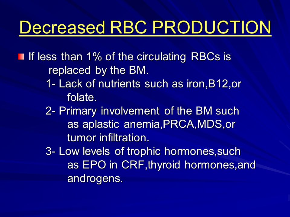 Decreased RBC PRODUCTION If less than 1% of the circulating RBCs is replaced by the BM. replaced by the BM. 1- Lack of nutrients such as iron,B12,or 1