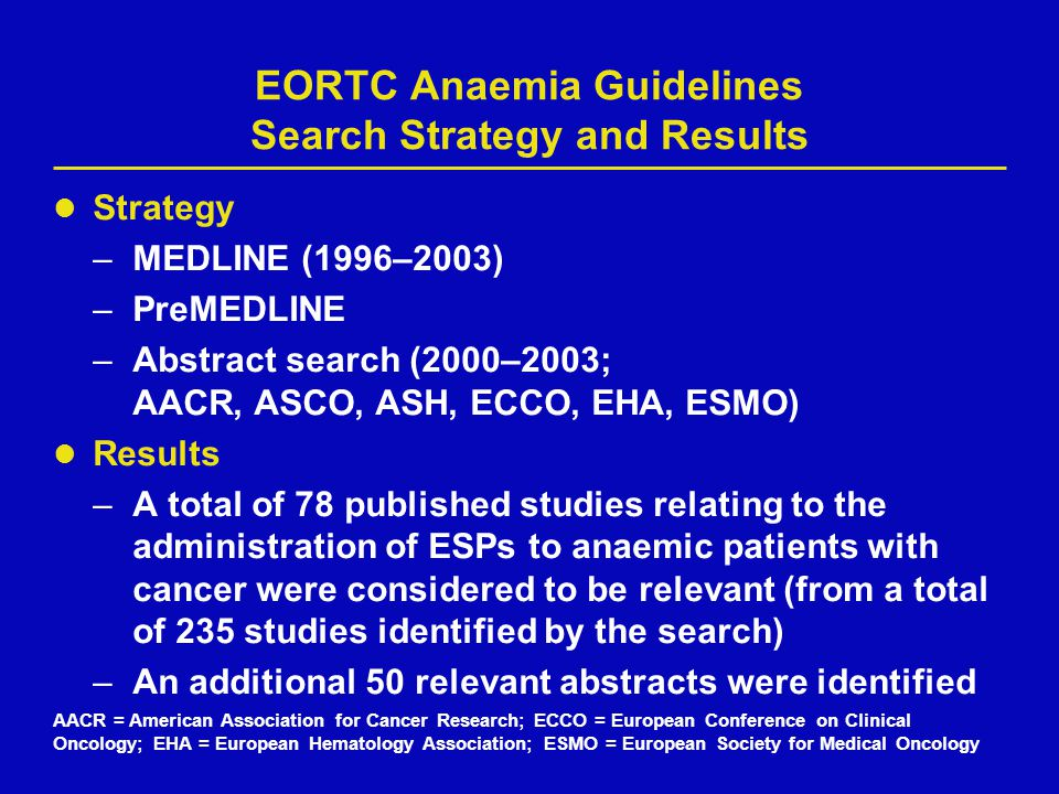 EORTC Anaemia Guidelines Search Strategy and Results Strategy –MEDLINE (1996–2003) –PreMEDLINE –Abstract search (2000–2003; AACR, ASCO, ASH, ECCO, EHA