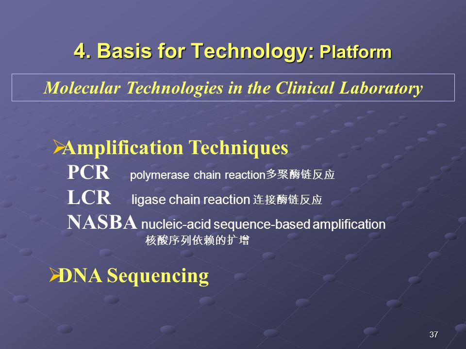 37 4. Basis for Technology: Platform  Amplification Techniques PCR polymerase chain reaction 多聚酶链反应 LCR ligase chain reaction 连接酶链反应 NASBA nucleic-ac