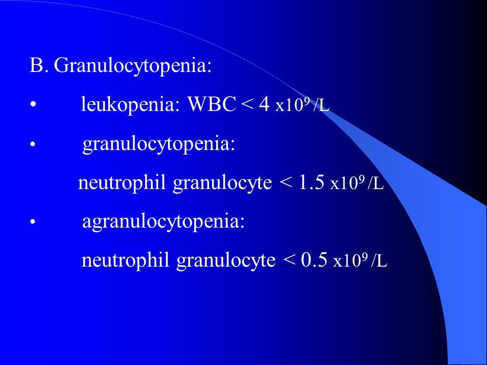 B.Granulocytopenia: leukopenia: WBC < 4 x10 9 /L granulocytopenia: neutrophil granulocyte < 1.5 x10 9 /L agranulocytopenia: neutrophil granulocyte < 0.5 x10 9 /L