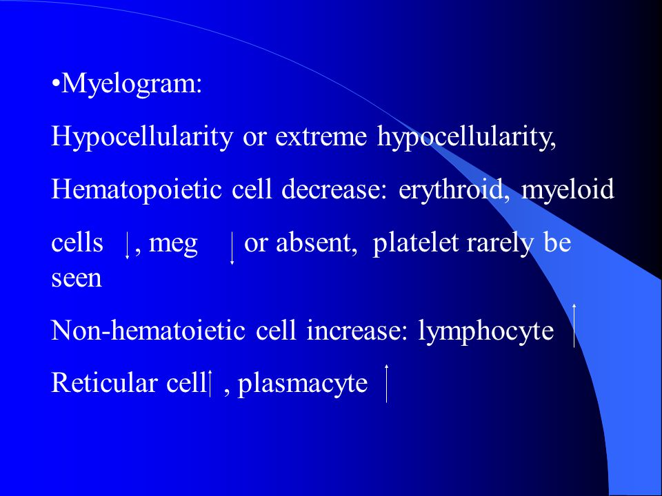 Myelogram: Hypocellularity or extreme hypocellularity, Hematopoietic cell decrease: erythroid, myeloid cells, meg or absent, platelet rarely be seen N