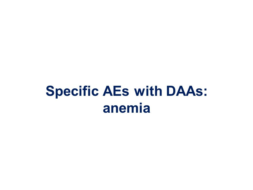 Specific AEs with DAAs: anemia