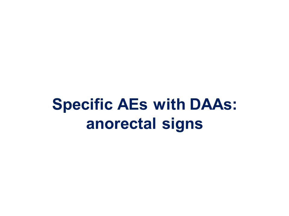 Specific AEs with DAAs: anorectal signs