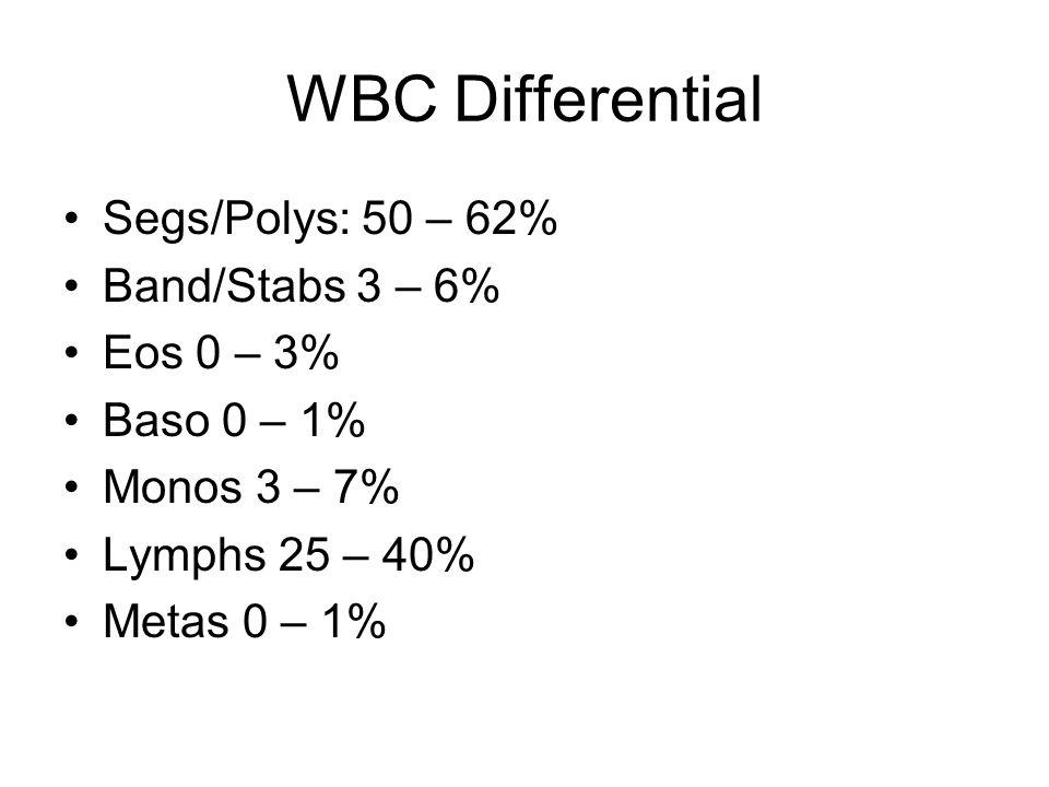 WBC Differential Segs/Polys: 50 – 62% Band/Stabs 3 – 6% Eos 0 – 3% Baso 0 – 1% Monos 3 – 7% Lymphs 25 – 40% Metas 0 – 1%