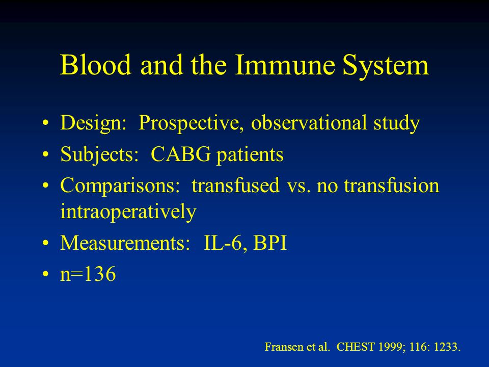 Blood and the Immune System Design: Prospective, observational study Subjects: CABG patients Comparisons: transfused vs.
