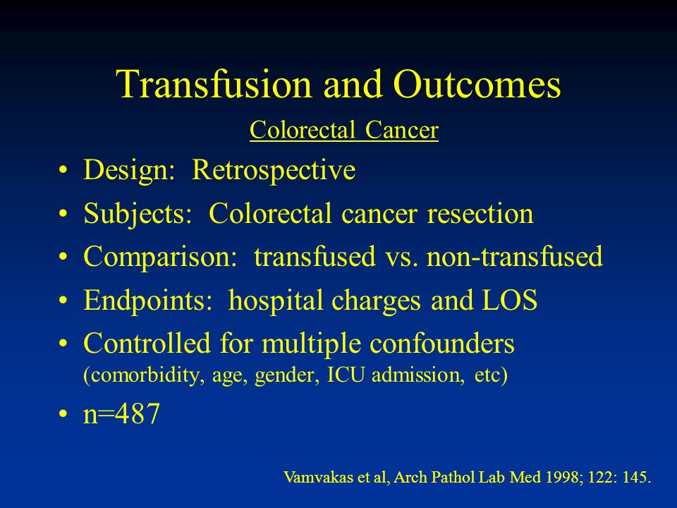 Transfusion and Outcomes Design: Retrospective Subjects: Colorectal cancer resection Comparison: transfused vs.