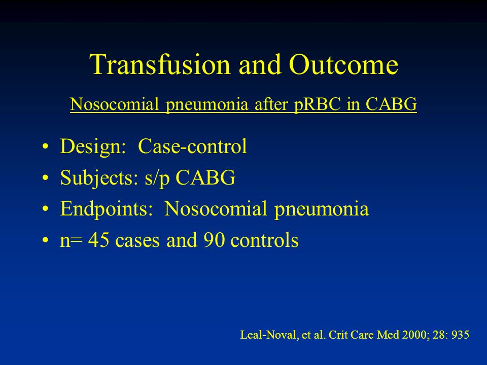 Transfusion and Outcome Design: Case-control Subjects: s/p CABG Endpoints: Nosocomial pneumonia n= 45 cases and 90 controls Leal-Noval, et al.