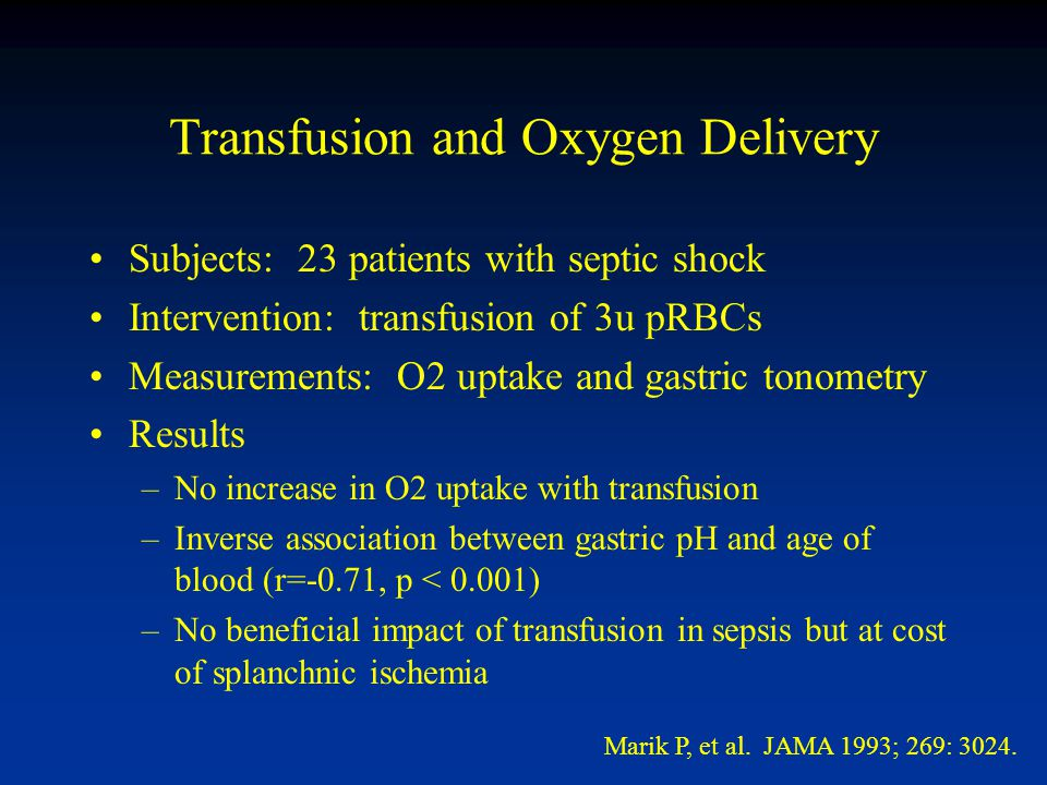 Transfusion and Oxygen Delivery Subjects: 23 patients with septic shock Intervention: transfusion of 3u pRBCs Measurements: O2 uptake and gastric tonometry Results –No increase in O2 uptake with transfusion –Inverse association between gastric pH and age of blood (r=-0.71, p < 0.001) –No beneficial impact of transfusion in sepsis but at cost of splanchnic ischemia Marik P, et al.
