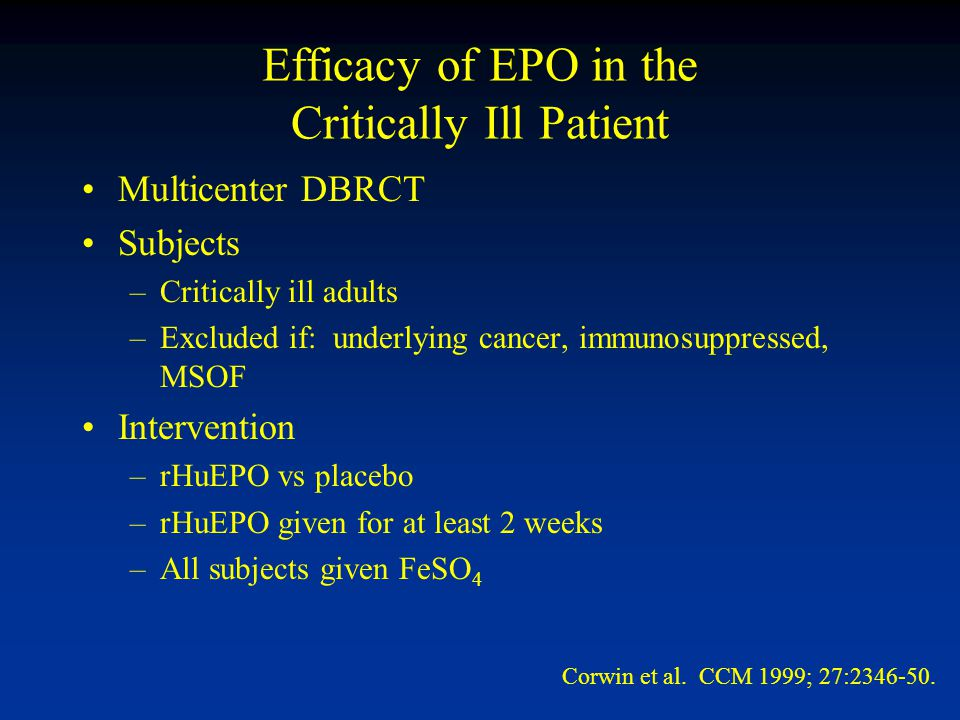 Efficacy of EPO in the Critically Ill Patient Multicenter DBRCT Subjects –Critically ill adults –Excluded if: underlying cancer, immunosuppressed, MSOF Intervention –rHuEPO vs placebo –rHuEPO given for at least 2 weeks –All subjects given FeSO 4 Corwin et al.