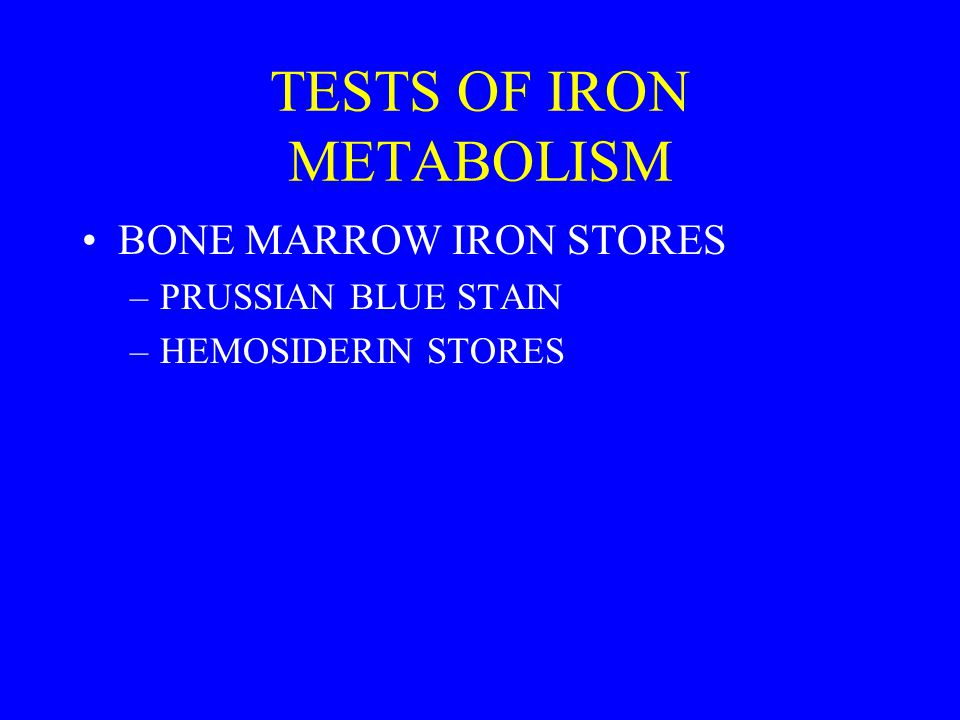 TESTS OF IRON METABOLISM BONE MARROW IRON STORES –PRUSSIAN BLUE STAIN –HEMOSIDERIN STORES