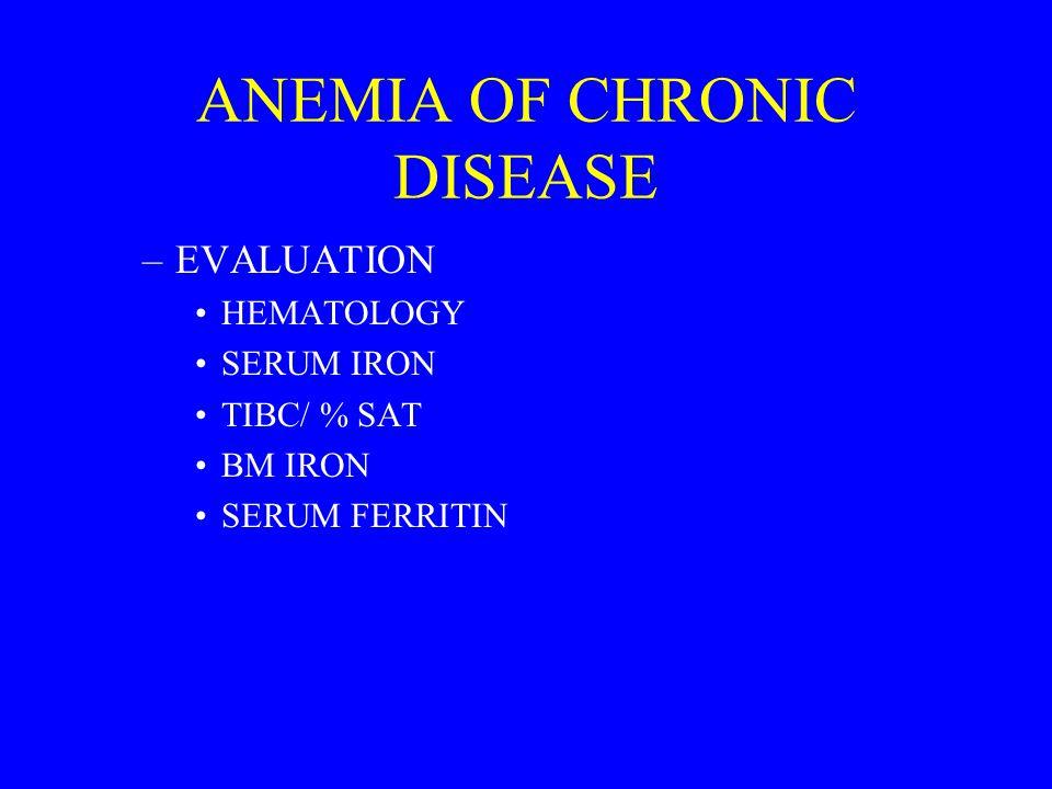 ANEMIA OF CHRONIC DISEASE –EVALUATION HEMATOLOGY SERUM IRON TIBC/ % SAT BM IRON SERUM FERRITIN