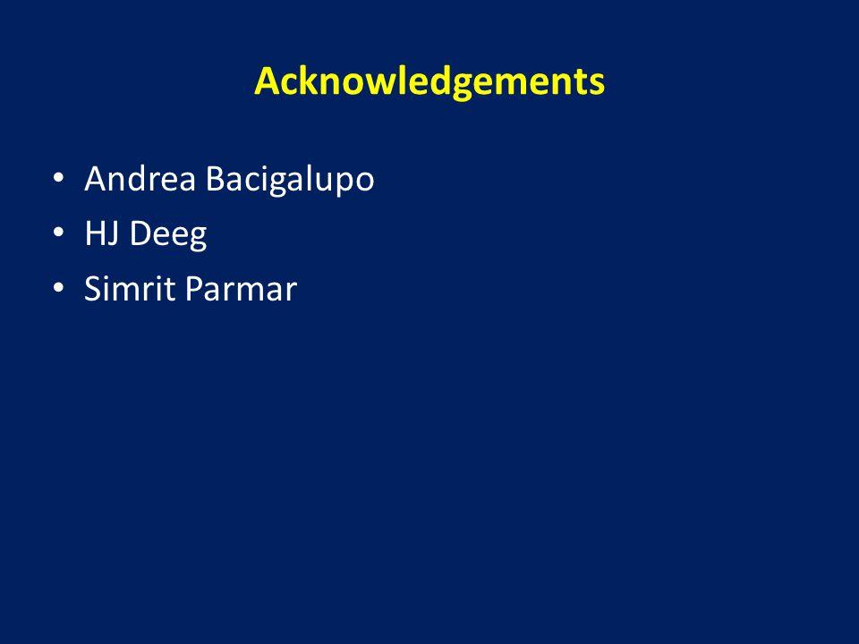 Acknowledgements Andrea Bacigalupo HJ Deeg Simrit Parmar