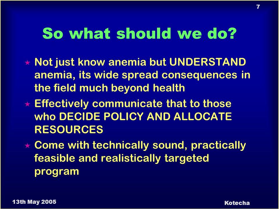 13th May 2005 Kotecha 8 Why Anemia Control.