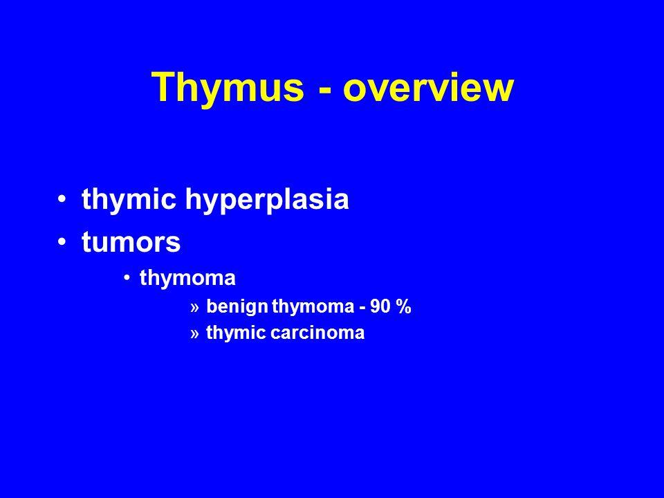 Thymus - overview thymic hyperplasia tumors thymoma »benign thymoma - 90 % »thymic carcinoma