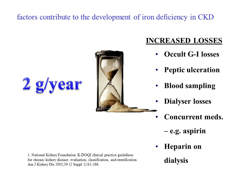 factors contribute to the development of iron deficiency in CKD Occult G-I losses Peptic ulceration Blood sampling Dialyser losses Concurrent meds.