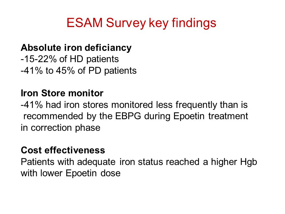 ESAM Survey key findings Absolute iron deficiancy -15-22% of HD patients -41% to 45% of PD patients Iron Store monitor -41% had iron stores monitored less frequently than is recommended by the EBPG during Epoetin treatment in correction phase Cost effectiveness Patients with adequate iron status reached a higher Hgb with lower Epoetin dose