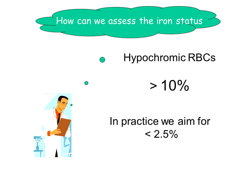 How can we assess the iron status Hypochromic RBCs > 10% In practice we aim for < 2.5%