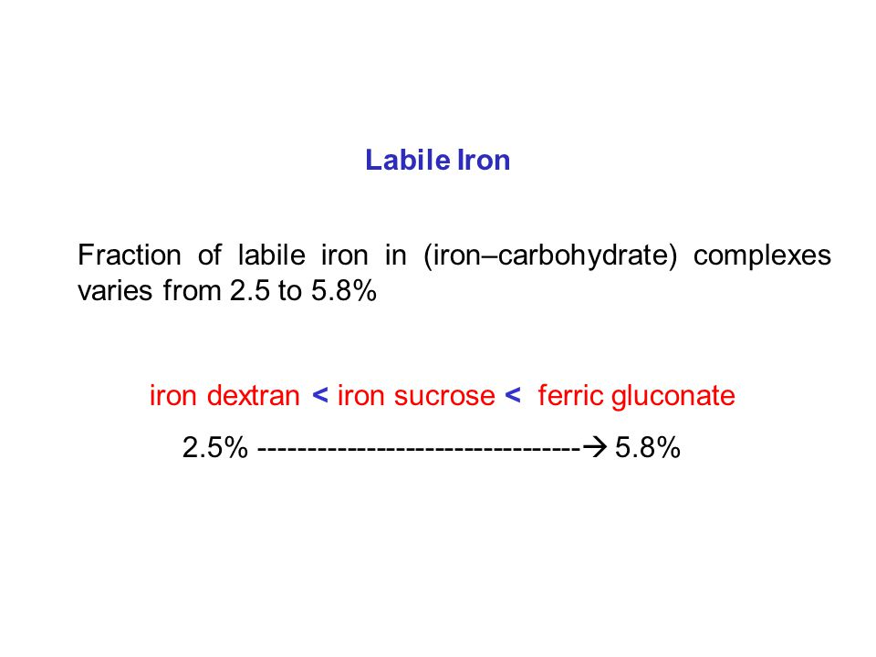 Fraction of labile iron in (iron–carbohydrate) complexes varies from 2.5 to 5.8% iron dextran < iron sucrose < ferric gluconate 2.5% ---------------------------------  5.8% Labile Iron