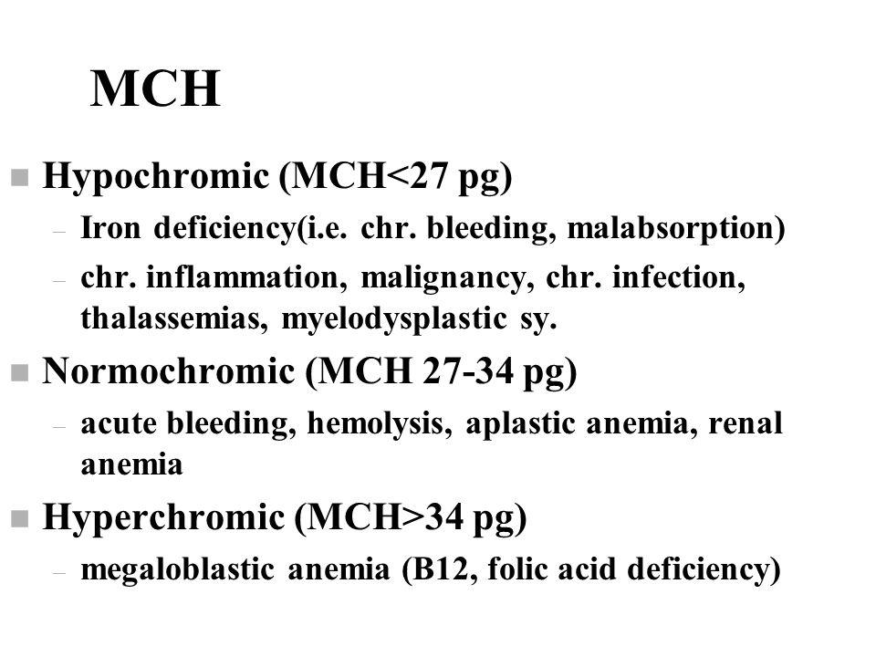 MCH n Hypochromic (MCH<27 pg) – Iron deficiency(i.e.