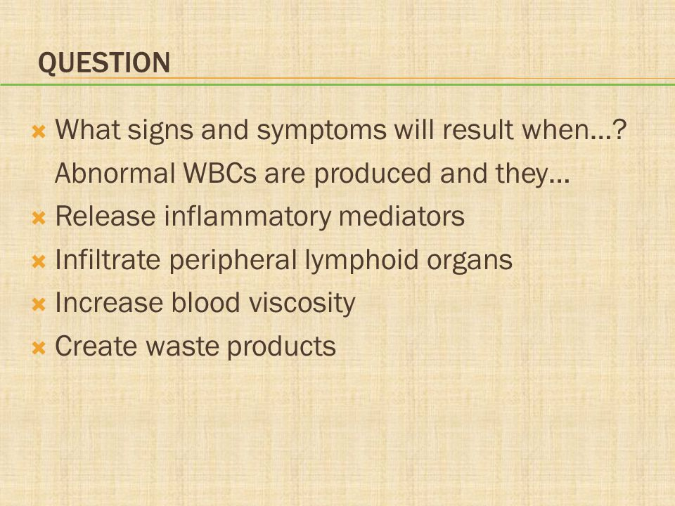 QUESTION  What signs and symptoms will result when….