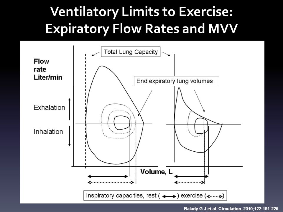 Figure 7. Flow-volume loops. Balady G J et al. Circulation. 2010;122:191-225 Ventilatory Limits to Exercise: Expiratory Flow Rates and MVV